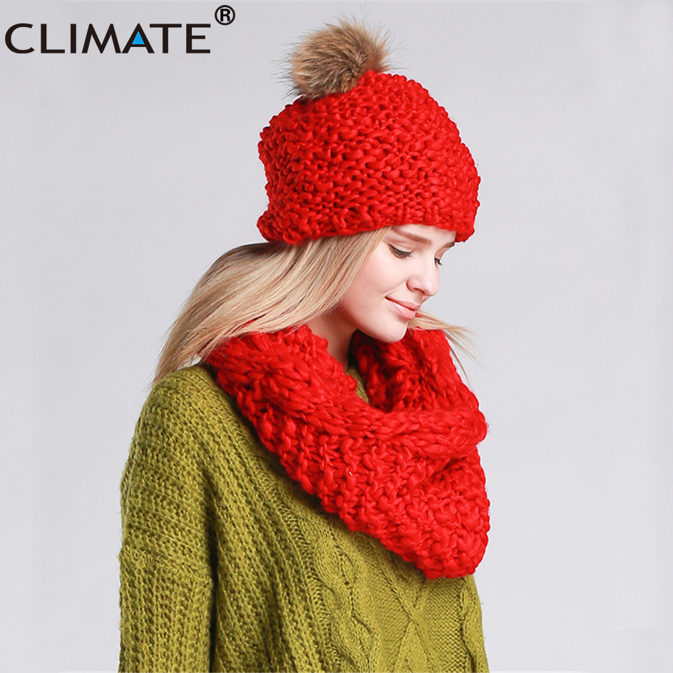 CLIMATE Women Winter Hat And Scarf Set Warm Lady Collar Pom Beanie Sets Fashion Warm Knit Hat Scarf Set Women Comfortable Scarf