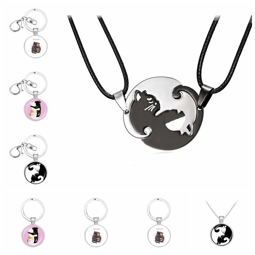 Пара пар ожерелье ювелирные изделия черный белый милый кот животное подвески чокер подарок на День святого Валентина для женщин мужчин любовник аксессуары