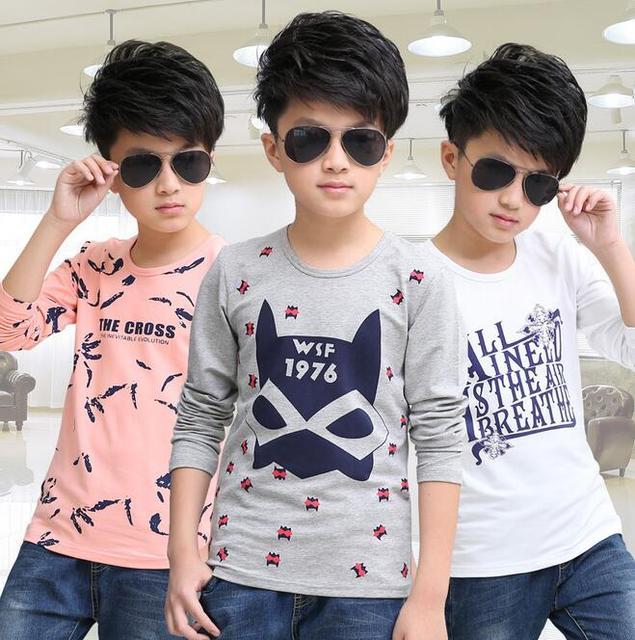 Otoño Botoming T-shirt Para Niños de Manga Larga de Algodón Ropa de Lana Para Niños Menino Impresión Blusas Ropa para Niño pequeño