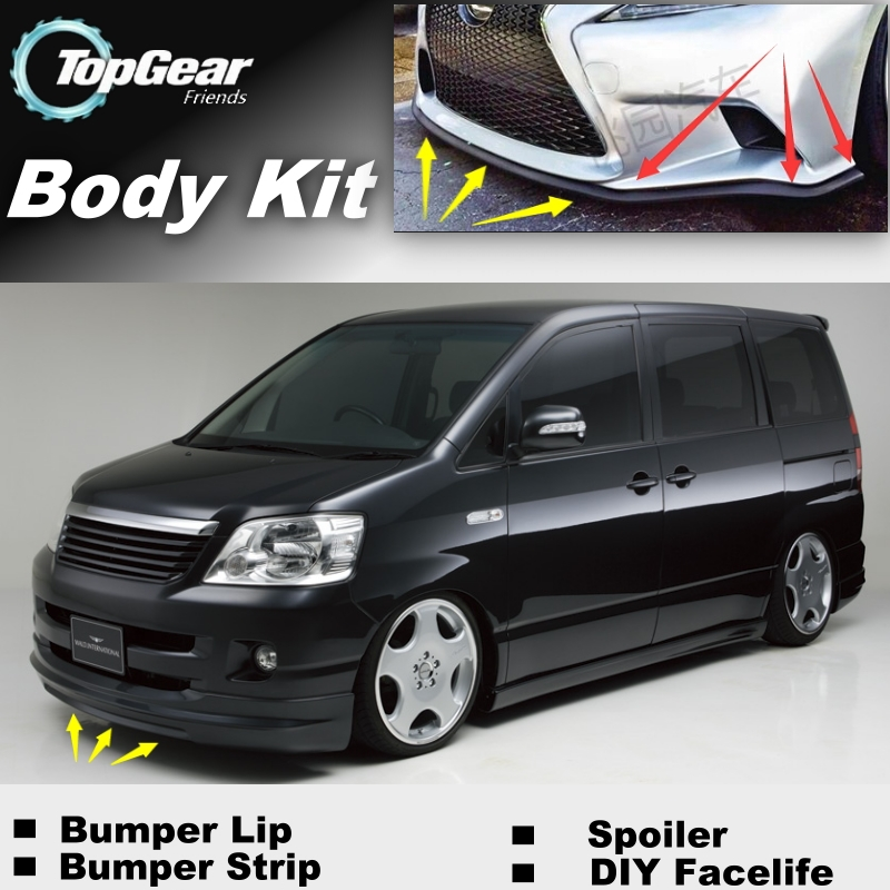 For TOYOTA Noah Voxy Nav1 Bumper Lip / Top Gear Shop Front Spoiler For Car Tuning / TOPGEAR Body Kit + Strip Skirt Mitsubishi Pajero