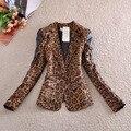 2016 New Spring & Autumn Retro Leopard Lady Suit Jacket Small Leopard Blazer for Female Fashion Slim Leopard Blazer