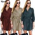 Plus Size 2017 Nova Primavera 3 Cores Escritório Casaco Trench Coats Casaco de Lã De Alta Cintura Cinto Moda Casual Feminino Tops Streetwear