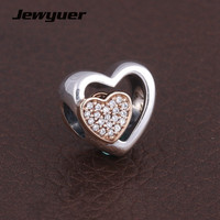 Silver Joined Together Charms 925 Sterling Silver Jewelry With Gold Heart Charm Fit Bead Bracelets Necklace