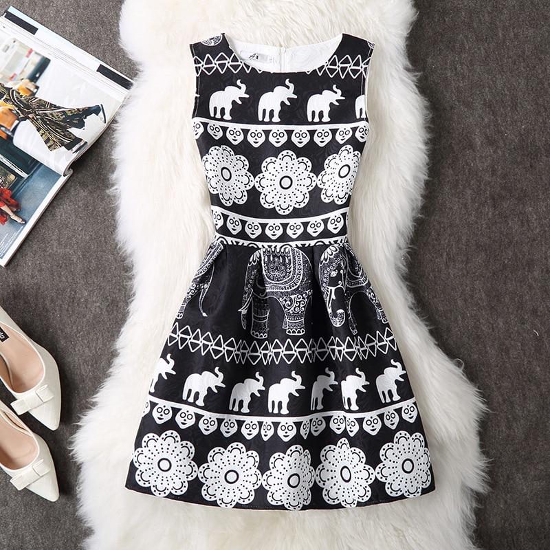New Ladies Party Dress Women Summer Office Ladies O Neck Jacquard Print Vintage Ball Gown Slim Vest Dresses Vestidos Clothes