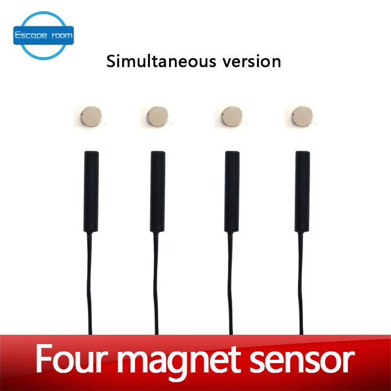 Tangram jeu accessoires outils quatre aimant même temps version pour libérer serrure vraie vie salle évasion puzzles ouvrir la serrure magnétique