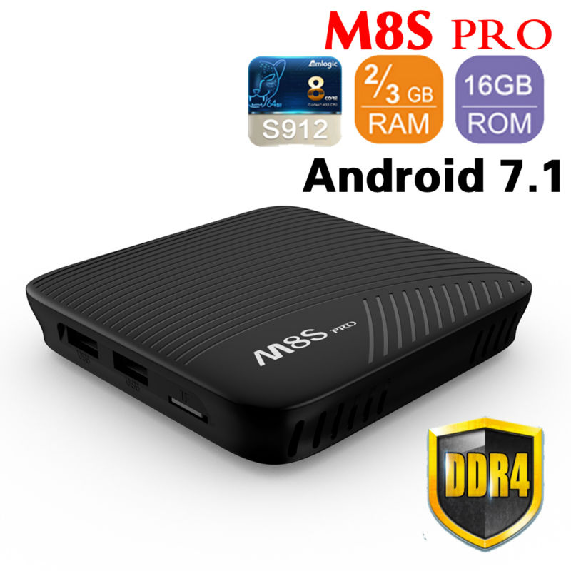 Amlogic S912 Octa Core M8S PRO DDR4 2GB/3GB 16GB rom Android 7.1 Smart TV Box Wifi 4K H.265 M8Spro Set Top Box chycet t95r pro amlogic s912 smart android 6 0 tv box octa core 2gb 16gb 4k 2k dual band wifi smart tv player set top box