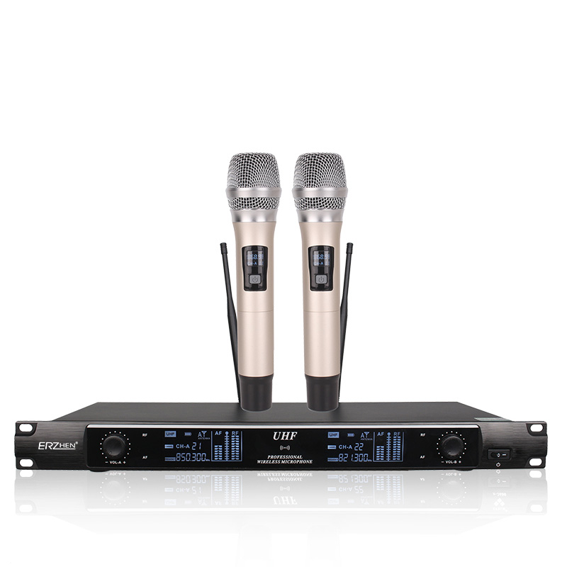 Wireless SystemX-2600 Professional Microphone 2 Channel VHF Professional 2 Handheld Microphone Stage Karaoke Wireless Microphone