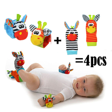 4Pcs/Pack=2 Pcs Waist + 2 Pcs Socks, 2016 New Fashion Cute Animal Wrist Strap and Infant Baby Rattle Socks Drop Shipping SK001