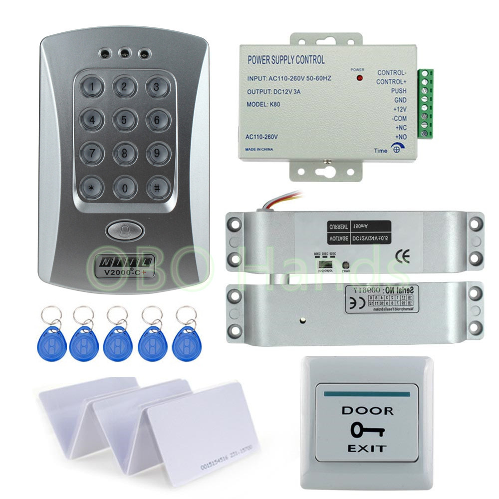 Best Price! Full Electronic Drop Bolt lock system kit set with RFID access control keypad+door bell+power supply+exit button+key rfid door access control system kit set with electric lock power supply doorbell door exit button 10 keys id card reader keypad