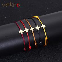 df77a099d851 VEKNO Simple cruz pulsera de hilo rojo ajustable trenzado suerte Macrame  cuerda pulseras para Mujeres Hombres niños joyería hech.
