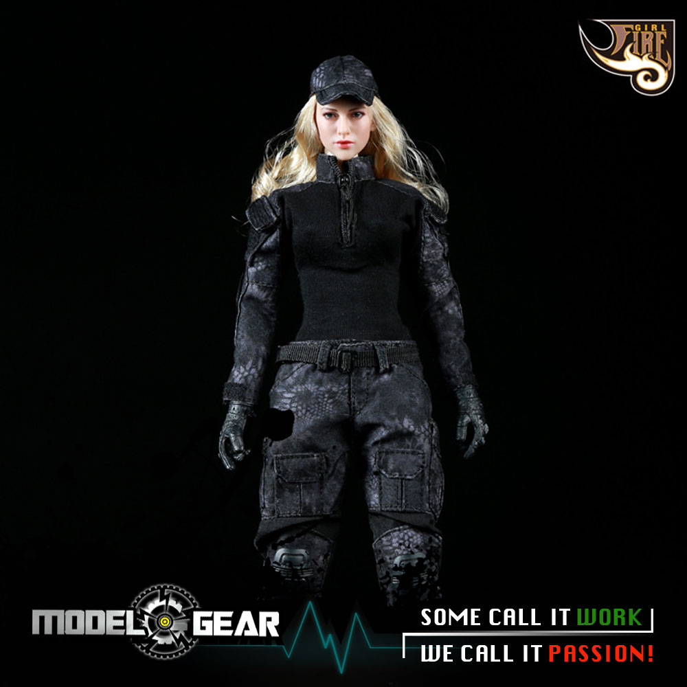 1/6 Scale Fire Girl Toys FG005 Black Python Camouflage Combat Uniform Clothing Set Suitable for 12'' Action Figure Model Toy