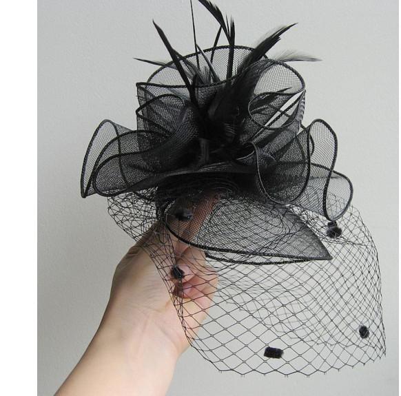Ele cobriu o rosto único Europeu malha palco chapéu Banquete cocar pequeno chapéu de penas acessórios para o cabelo hairpin de noiva