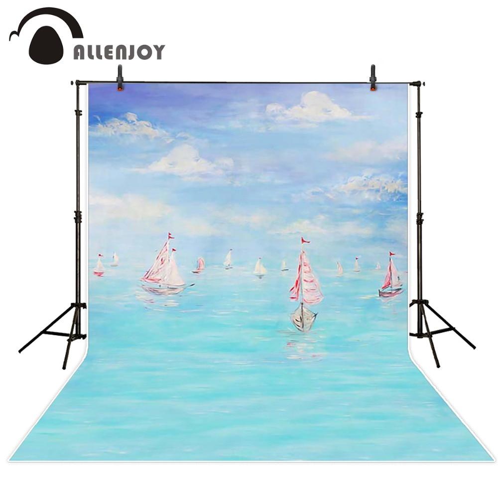 Photography background Blue bokeh ocean sailboat sky children boy studio customize  Allenjoy backdrops blue sky чаша северный олень