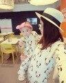 Ropa de la familia Mamá Hija Vestido para La Muchacha Del Otoño de Manga Larga de Algodón Causal Vestido de Pingüino Juego Madre Hijo Bebé Mameluco Del Bebé