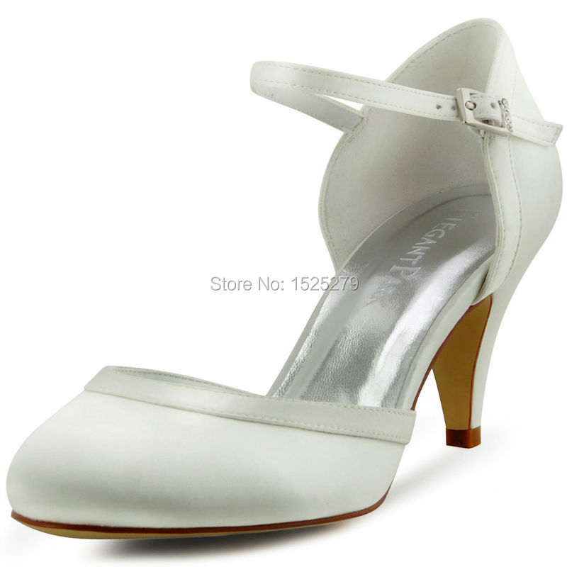 HC1509 Women Bride Party Evening Prom White Ivory Round Toe 2.8  Stiletto High Heel Pumps Buckle Satin Wedding Bridal  Shoes