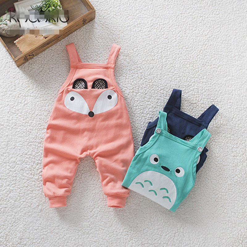 Boys and girls spring new cute little fox loose casual harem pants overalls baby C-XBK-BDK001