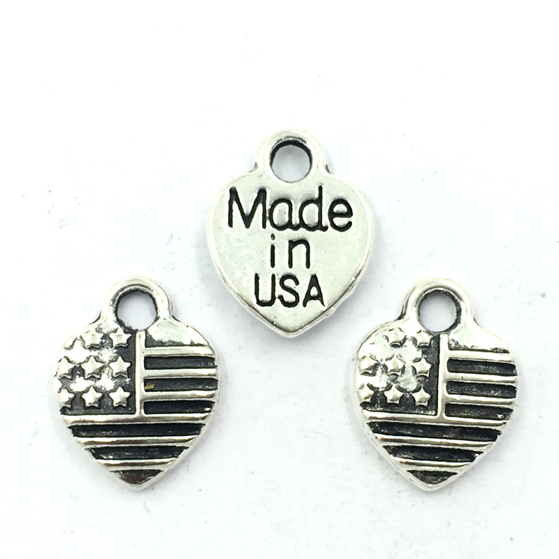 50Pcs Pendants For Bracelets Craft Jewelry Making Accessoris Silver Tone Love Heart Shape America Flag Made In USA DIY Charms in Jewelry Findings Components from Jewelry Accessories