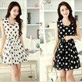 Women Vest Dress Lace Irregular Chiffon Large Sleeveless Dot Print Girl Fashion Elegant Sweet Mid Long Dress