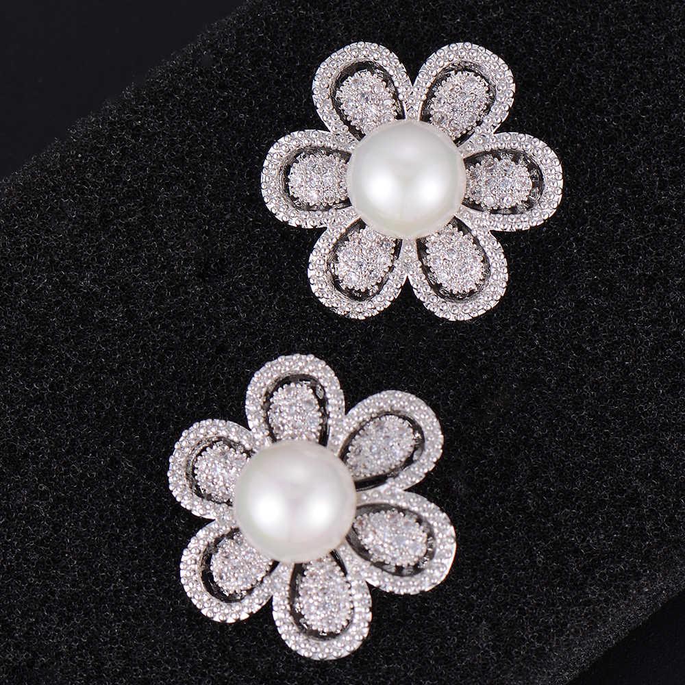 Missvikki florescendo flor pérola brinco brinco zircônia cúbica brincos festa moda jóias evitar allerg