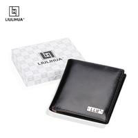 Genuine Leather Wallet big capacity men wallets Coin purse male money purses Card Case Black Small Purse Short ID Card Black Sma