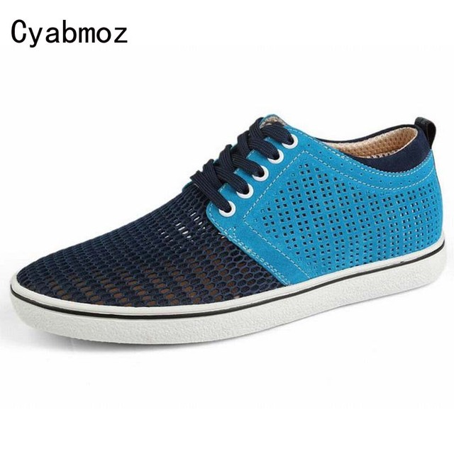 suede shoes men moccasin breathable Mesh height increasing 5 cm Summer Style Elevator Casual Sandals Hollow Cut-Out Leather Shoe