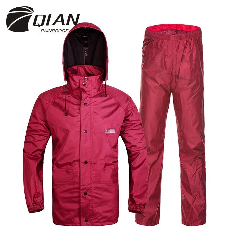 QIAN RAINPROOF Professional Outdoor Raincoat Hidden Rainhat Thicker Mesh Lining Safety Reflective Tape Design Super Rainsuit
