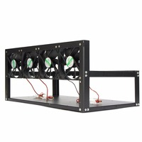 6 Graphics Card GPU Mining Rig Aluminum Case With 4 12cm Fans Open Air Frame For