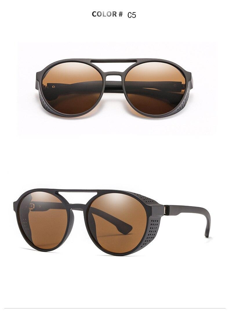 Men's sunglasses plastic + metal round frame glasses UV400 fashion ladies sunglasses classic brand driving night vision goggles (9)