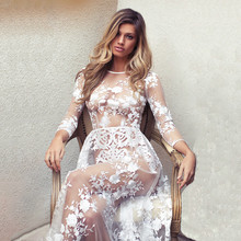 Ruoru Sexy See Through Lace Mesh Embroidered Dress Fashion Eveing Party Dress Club Dress Floor Length Vestidos Mujer Robe Women все цены
