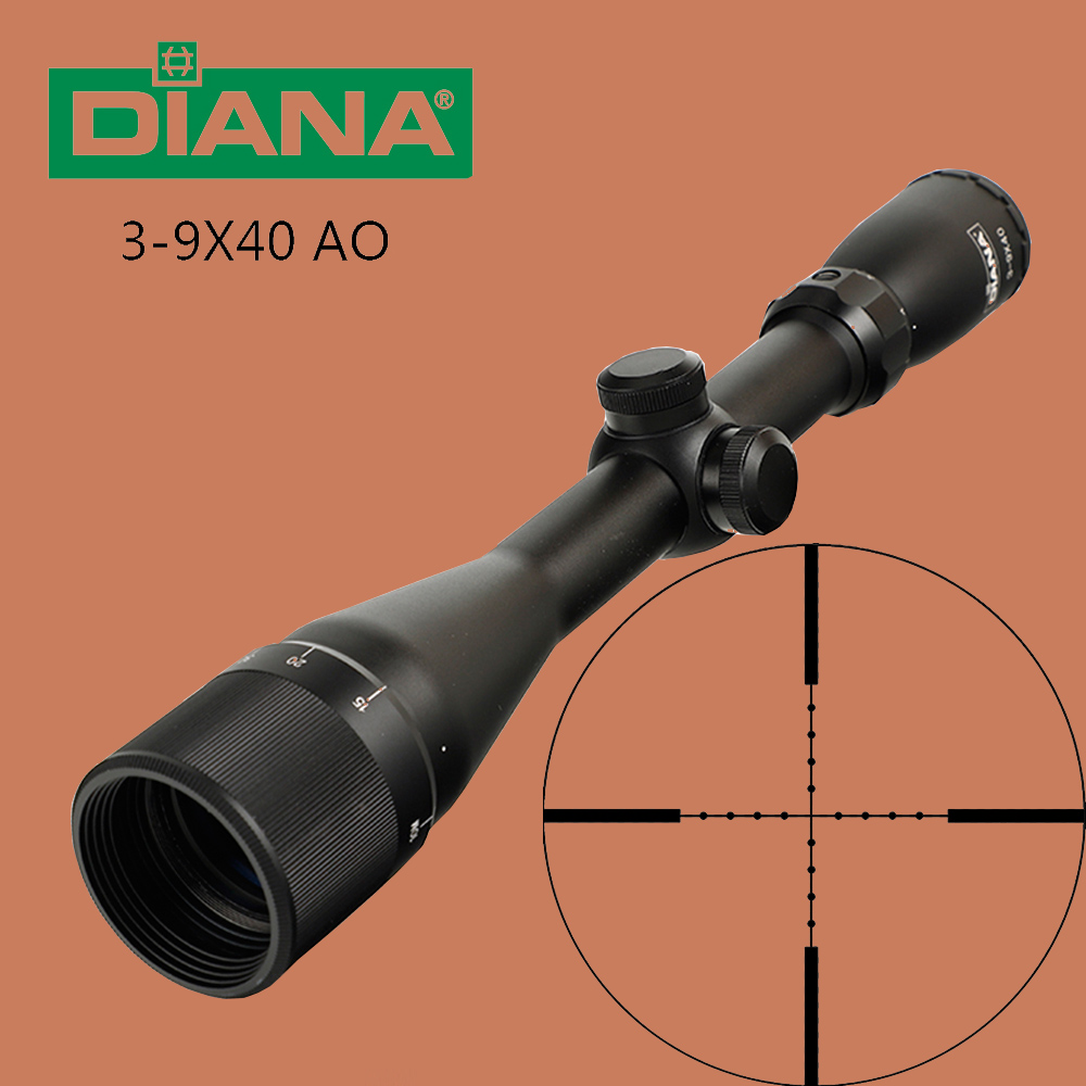 DIANA 3 9X40 AO Tactical Riflescope Optical Sights Mil Dot Reticle Hunting Rifle Scope for Shooting