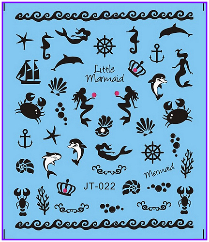 1X  Nail Sticker Black & White Mermaid Fish Sea Horse Stickers Nail Decals Stickers Water Decal Opp Sleeve Packing JT022 1x nail sticker palm tree flamingos water transfers stickers nail decals stickers water decal opp sleeve packing yu665