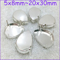 Silver Plated Metal Pear Claw Setting For Sewing Stone 7.8X13MM,10X14MM,13X18MM,18X25MM,20X30MM