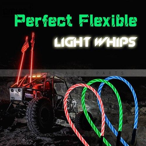 1 pc Twist Style multicolore LED fouet lumière 3FT, 4FT, 5FT disponible - 6