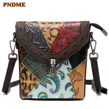 PNDME fashion vintage designer handmade embossed cowhide ladies shoulder bag female genuine leather womens messenger bags 2019