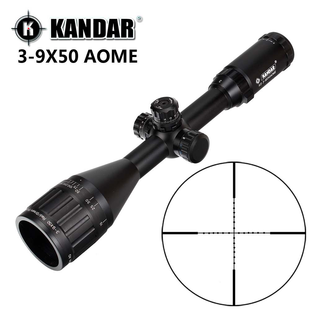 KANDAR 3-9x50 AOE Mil-dot Reticle RifleScope Locking Resetting Full Size Hunting Rifle Scope Tactical Optical Sight sniper 3 9x40 1 oblique full size tactical optical sight mil dot locking resetting hunting riflescope hunting equipment