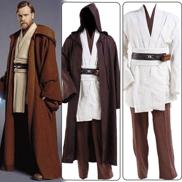 Star Wars Obi-Wan Jedi Robe Obi Wan Kenobi Tunic Cloak Halloween Carnival Cosplay Costume For Adult Men full set