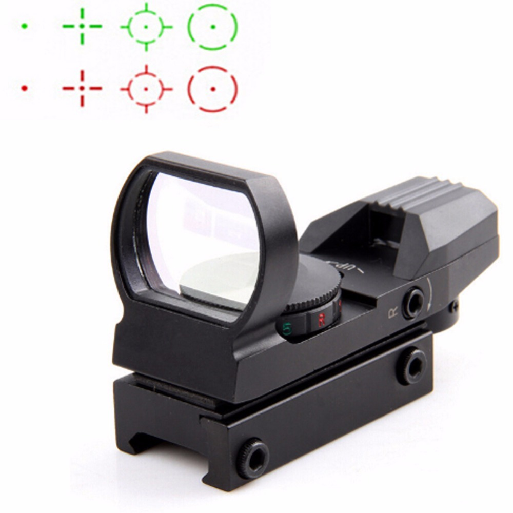 VERY100 Holographic Airsoft Red Green Dot Sight Reflex Scope 4 Reticles Fit 20mm Rail Mount Hunting el 1400 holographic red dot sight reflex sight 21mm rail mirino laser per carabina hunting optica scope