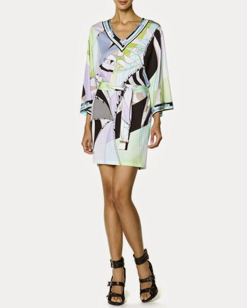 Luxus Marke Runway Kleid damen V ausschnitt Colorful Geometric Print Farbblock Jersey Silk Casual Kleid Mit Schärpen-in Kleider aus Damenbekleidung bei  Gruppe 2