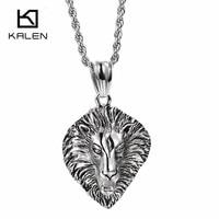 KALEN Gothic Big Lion Necklaces For Men Unique Stainless Steel Animal Lion Pendant Long Necklace Rock