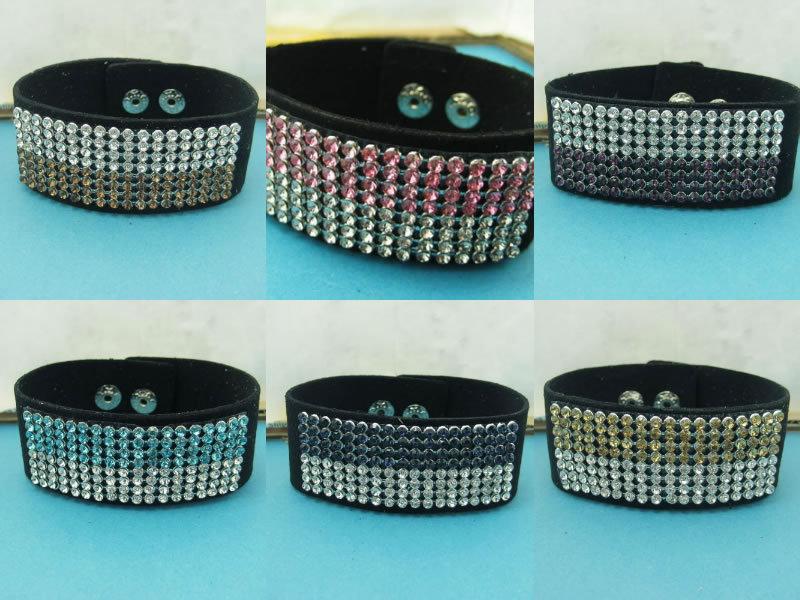 7 couleurs mélange commande 8 toronné ligne coupe chaîne cristal strass Bracelet en cuir Bracelet bijoux