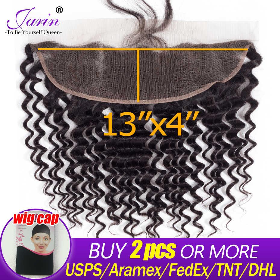 Jarin бразильские волнистые кружевные фронтальные Закрытие 13x4 remy волосы на ухо человеческие волосы бесплатно Средний фронтальный натуральный цвет 8A класс