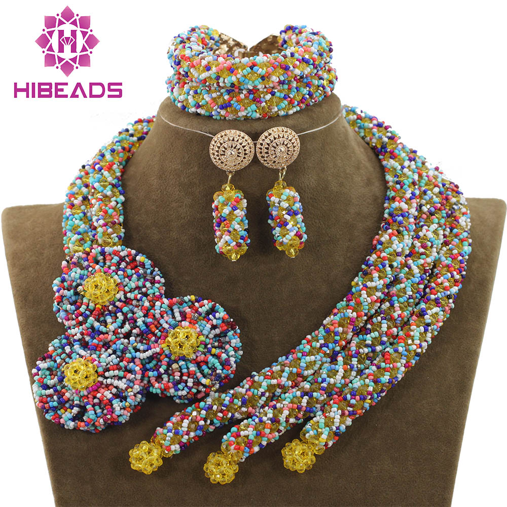 все цены на Handmade Chunky Crystal Exclusive Multicolor Necklace Bracelet Earrings Indian Wedding Floral Jewelry Free ShipABH144
