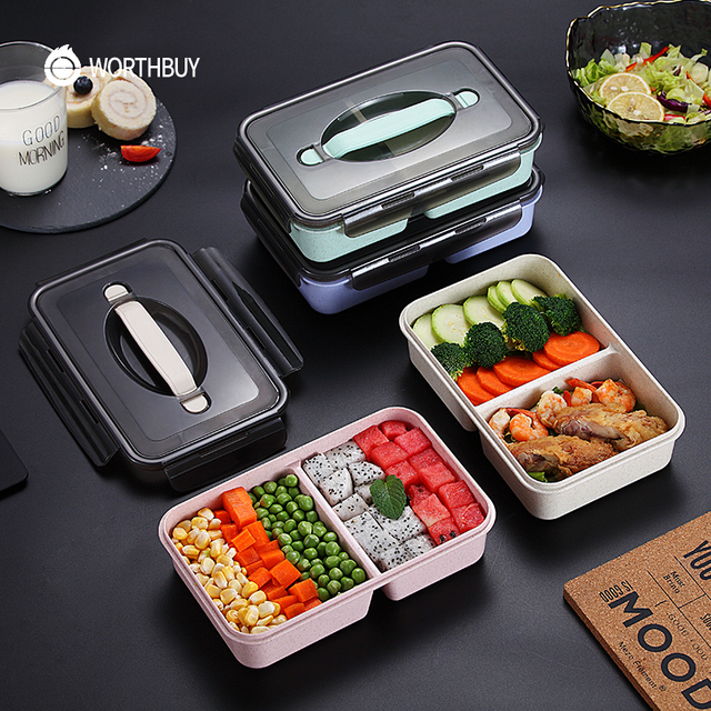 6732b8888cd3 US $7.99 30% OFF|WORTHBUY Japanese Kids Lunch Box Microwave Bento Box With  Compartments Wheat Straw Bento Lunch Box Leak Proof Food Container-in Lunch  ...