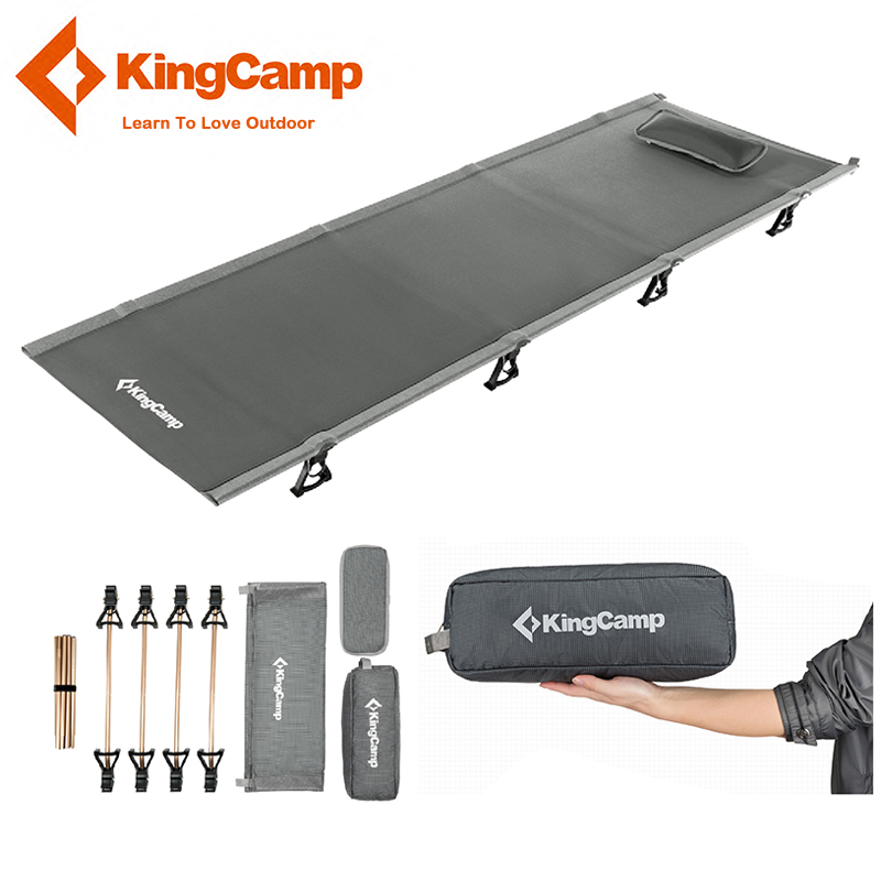 KingCamp Ultralight Single Folding Bed Weight Capacity 120KG Camping Cot Aviation Alumin ...