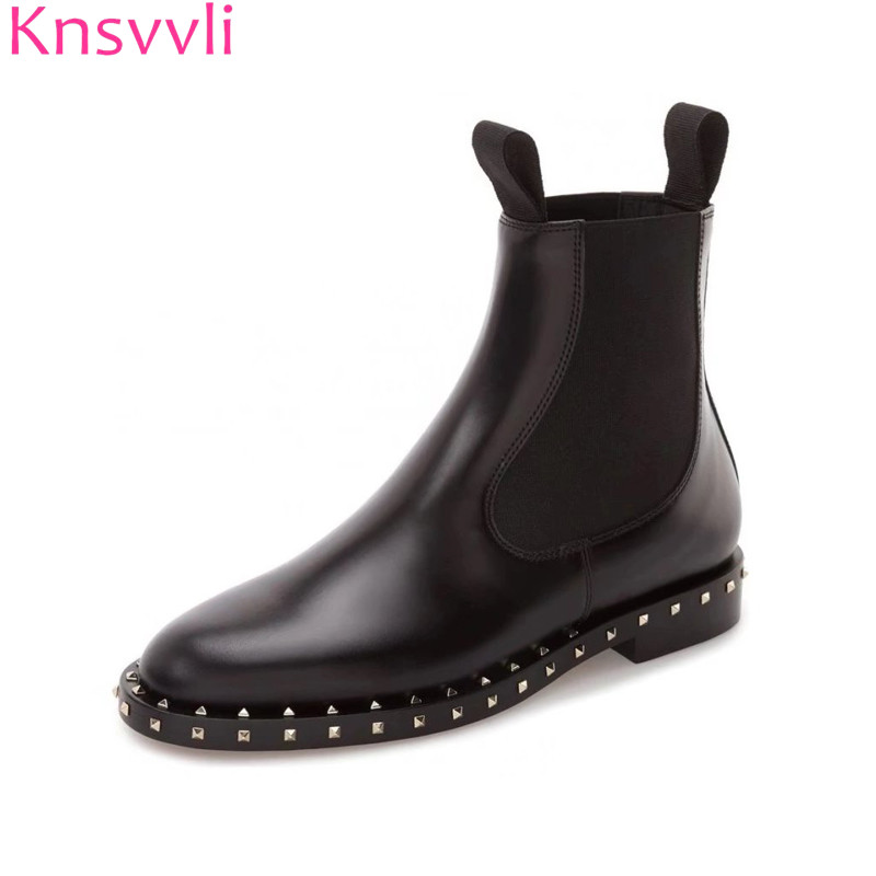 Knsvvli rivets ankle boots women genuine leather martin boots british style 2018 elastic band zip short boots and long boots цены