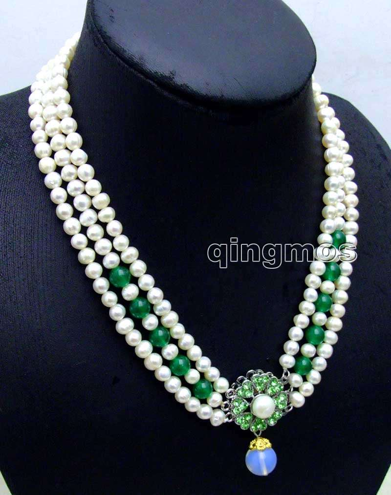6-7mm White Round Natural FW pearl and Green Beads 3 strands 18-19 necklace & Opal prndant-ne6104 wholesale/retail Free ship