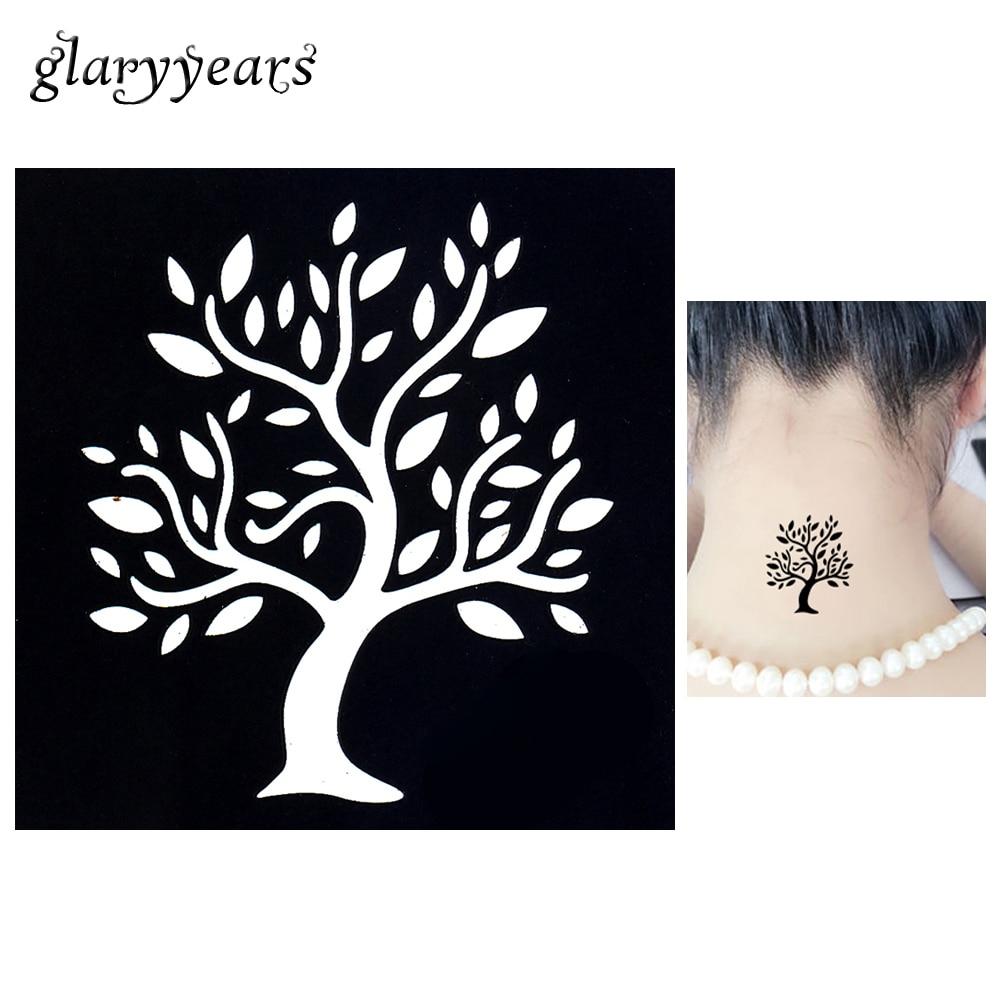 1pc Temporary Airbrush Henna Stencil For Women Body Painting Waterproof Life Of Tree Pattern Tattoo Stencil Leg Arm Art Tool G72