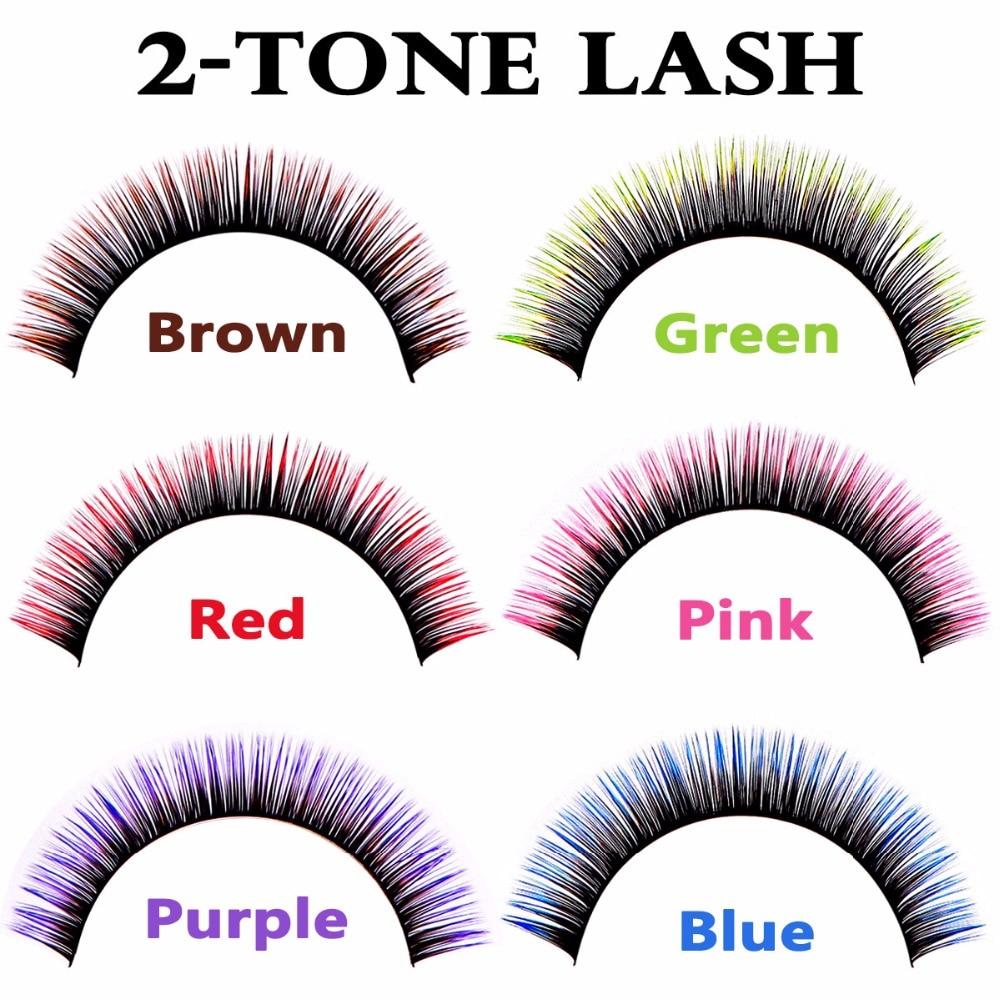 Deluxe kétszínű Lash Extensions Zöld Rózsaszín Lila Barna Piros Kék szempillák a nők szem smink