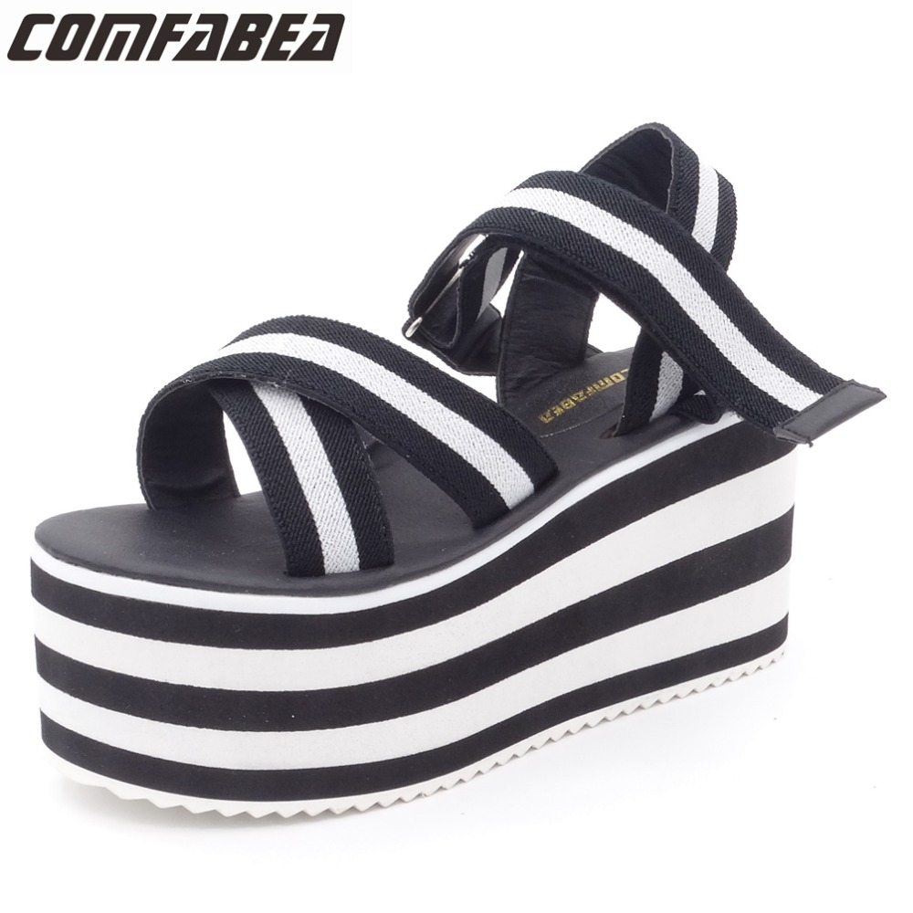Size 38(24cm) Summer Sandals Women 2017 Fashion Wedges High Platform Sandals Shoes Stripe Design Casual Sandal For Ladies phyanic 2017 gladiator sandals gold silver shoes woman summer platform wedges glitters creepers casual women shoes phy3323