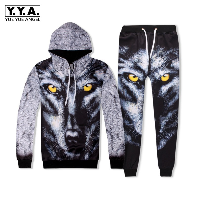Fashion Men Hip Hop 3D Wolf Printed Hoody Sweatshirt Two Piece Set Jogging Tracksuit Ensemble Homme High Street Casual Cloth Set